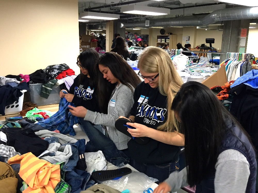 Organizing donated clothing